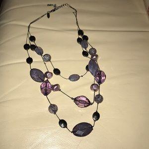 Purple three strand necklace
